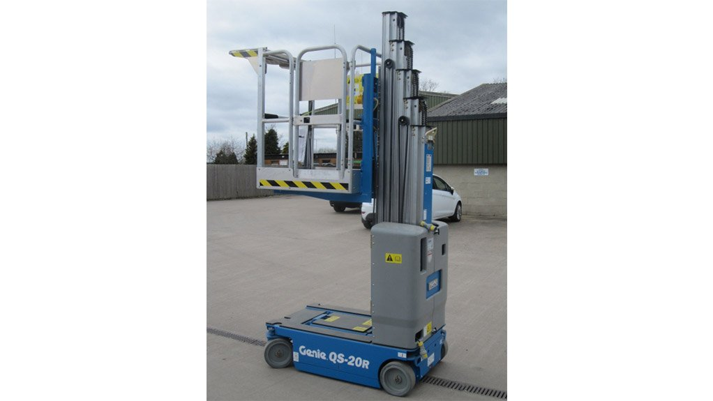 REACHING NEW HEIGHTSThe Genie QuickStock vertical mast lifts are compact, low-weight machines designed to make picking faster, easier and safer than rolling stairs