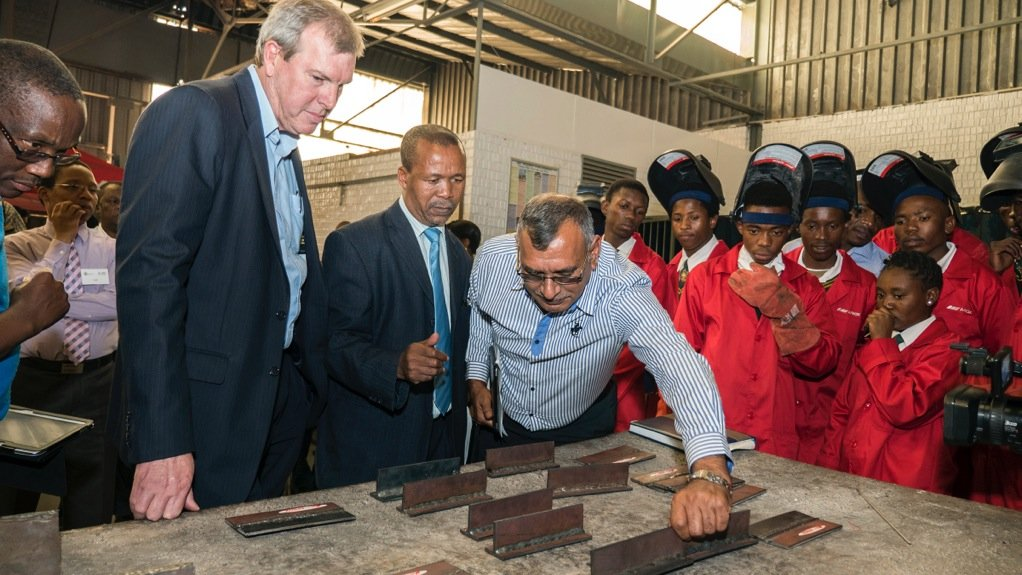 FUTURE ENGINEERS Afrox officials inspecting the work of Jabulani Technica High School learners at the unveiling on their school