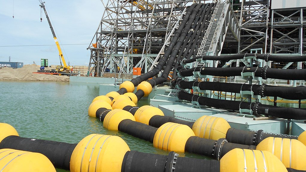 INCREASED LIFE The steel-ringed, high-abrasion-resistant rubber dredging hoses have doubled the lifetime of the hoses on dredging operations