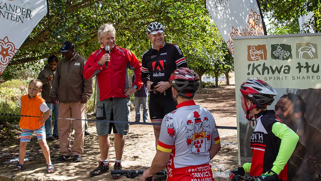 SPOTLIGHT ON CYCLING Western Cape Economic Opportunities Minister Alan Winde last year launched the 20 km !Khwa ttu mountain bike route to support growth and jobs in the area and attract additional visitors to South Africa's West Coast