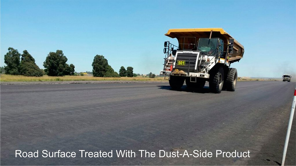 TREATED ROAD SURFACE Haul road surface treated with the Dust-A-Side bituminous-based product