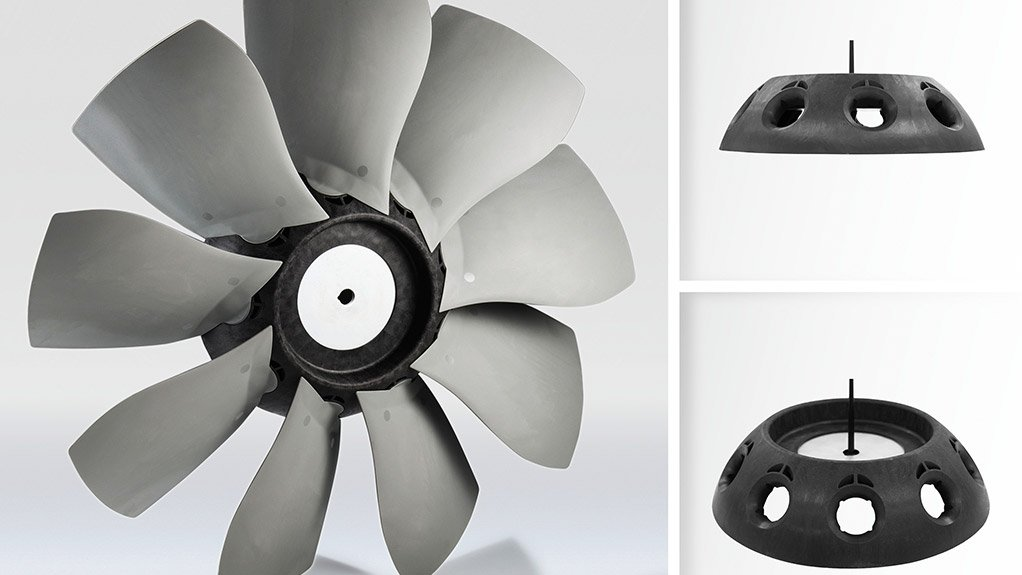 FIBRE-GLASS REINFORCEMENT BASF's new long glass fibre-reinforced polyamide Ultramid Structure B3WG10 LFX is used in the production of mixed flow fan hubs