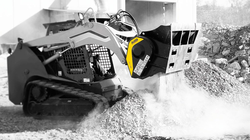 MB-L160 MB Crusher's crushing buckets can also attach to skid-steer loaders