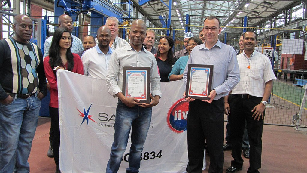 TRANSNET RECEIVES CERTIFICATION  Transnet Engineering's certification process is part of its preparation for the work it will do for the main contractors in Transnet's impending R50-billion locomotive upgrade