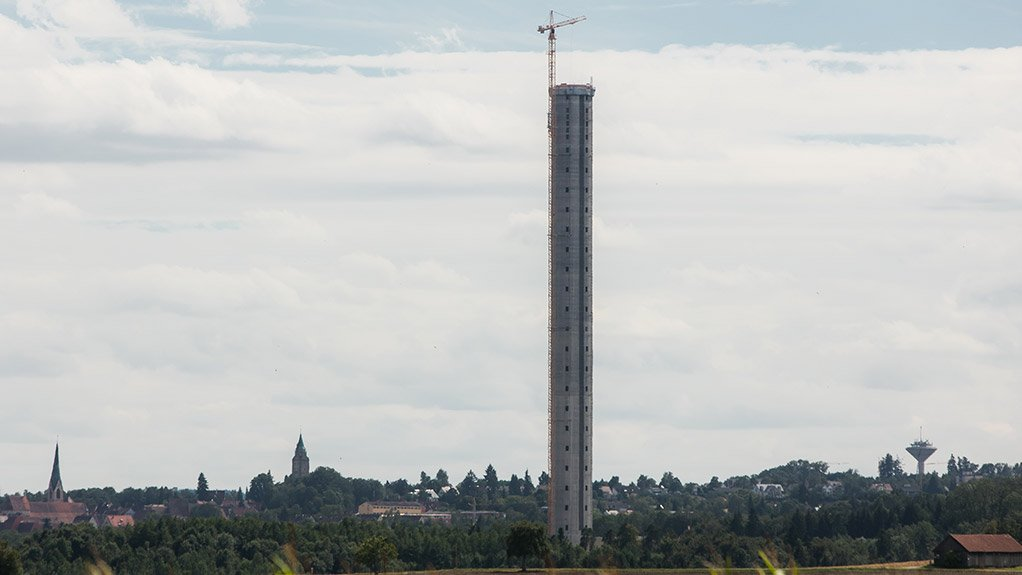 RICHTFEST TESTTURM The tower, which will be clad once completed to fit in with the town's spires, will function as a technology testing facility for ThyssenKrupp and the surrounding universities