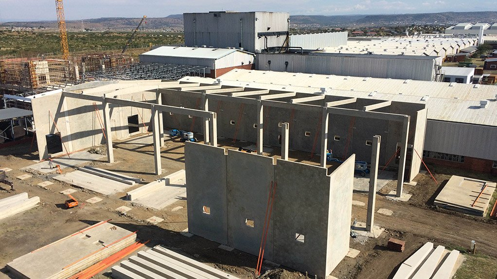 SUMITOMO PROJECT Using the tilt-up method on Sumitomo Rubber South Africa's factory expansion project reduced construction time by about two months