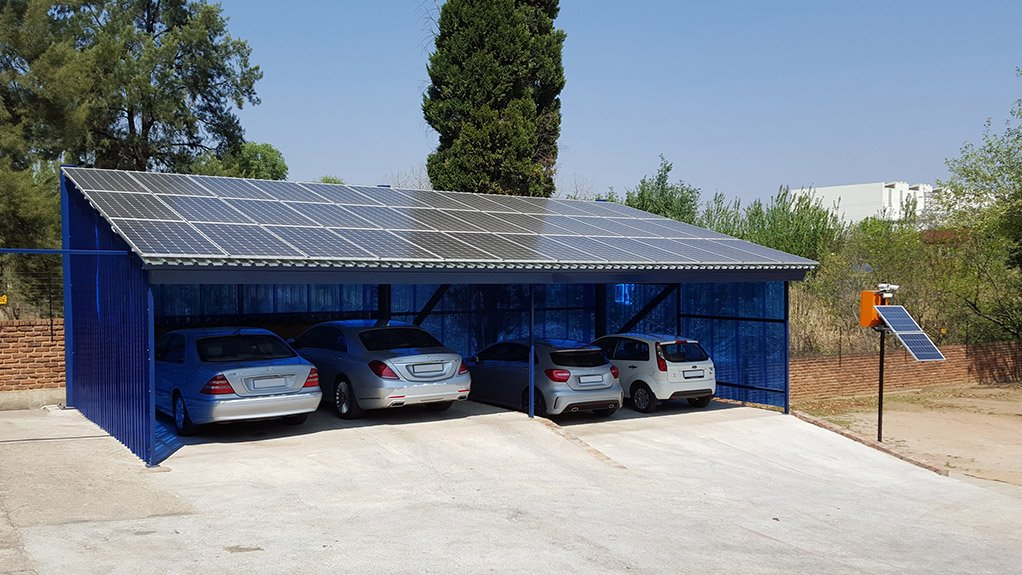 DUAL PURPOSE The 72 m²  carport provides shade and protection from the elements while generating 11.52 kWp of power a day