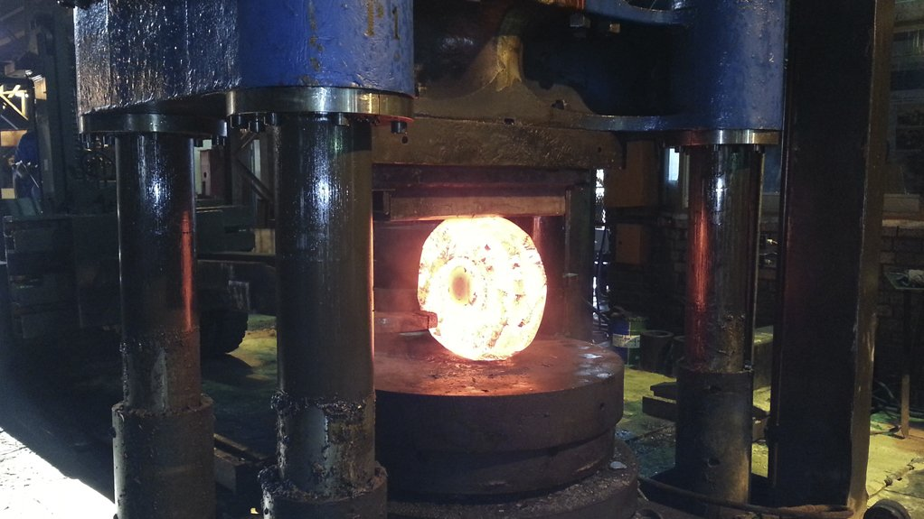FORGING IN PROGRESS Frankwen Forge manufactures critical components in the petrochemicals, heavy engineering and mrin industries