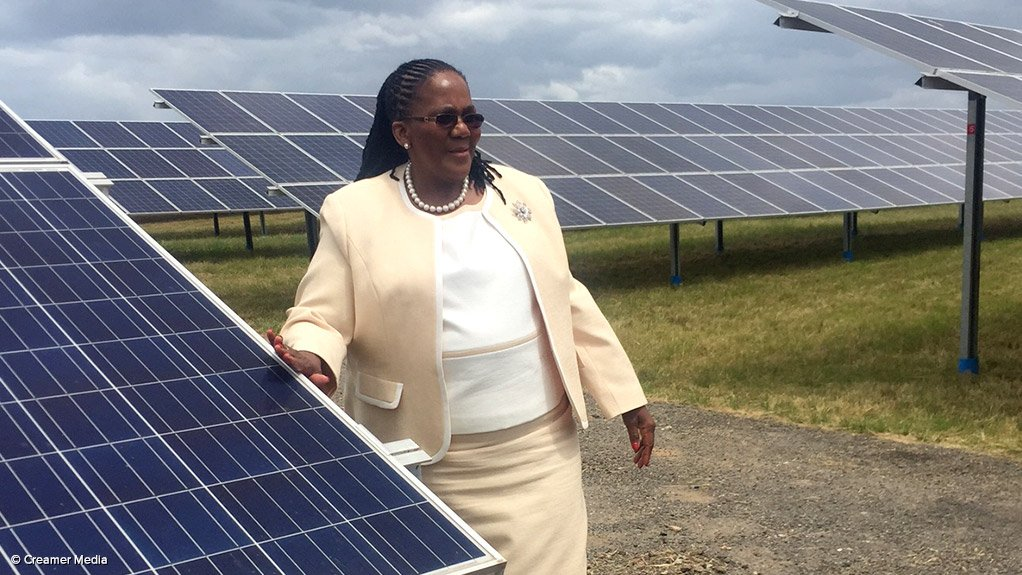 Transport Minister Dipuo Peters at the launch of the George Airport solar power plant in February