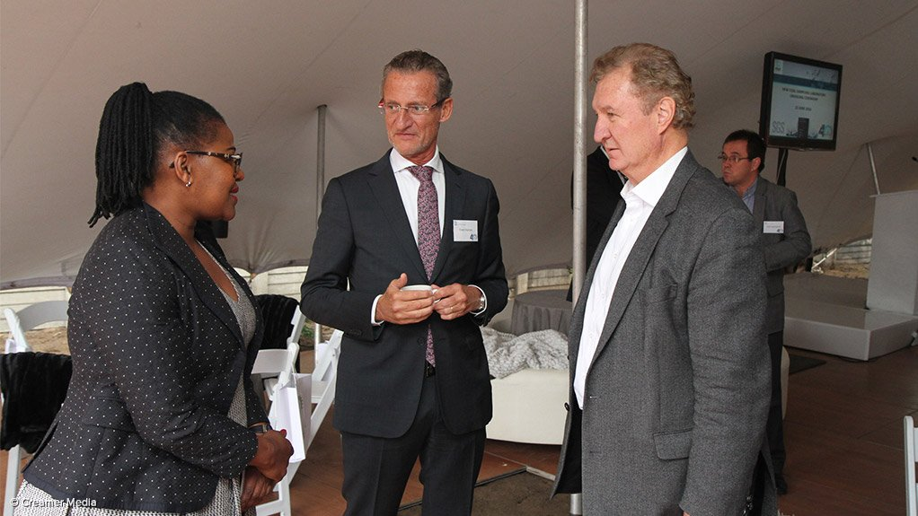 Outgoing RBCT CEO Nosipho Siwisa-Damasane, SGS COO Africa Fred Herren and Martin Creamer