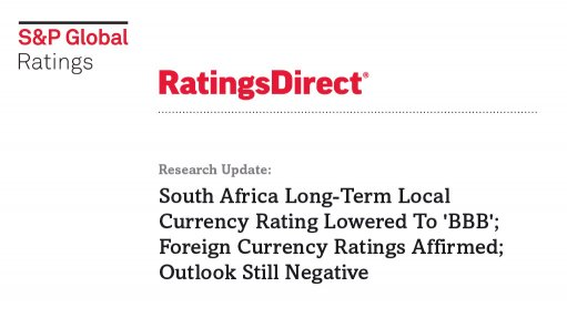 South Africa Long-Term Local Currency Rating Lowered To 'BBB'; Foreign Currency Ratings Affirmed; Outlook Still Negative
