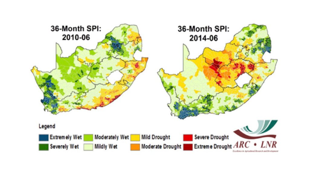 STANDARDISED PRECIPITATION INDEX 2010 – 2014 The gradual shift in dry areas can be observed on the 36-month time scale from June 2010 to June 2014