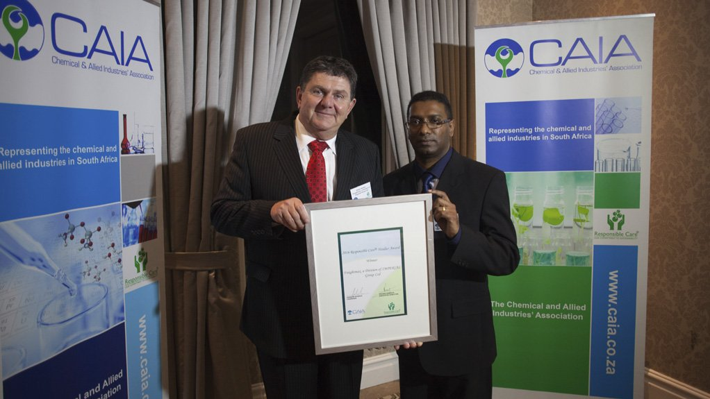PRESTIGIOUS AWARD  Freightmax operations director Shaun Barker (left) and national SHERQ manager Alvin Pillay (right) with the Responsible Care Haulier Award