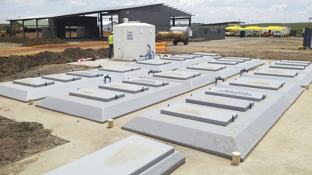 REUSE AND RECYCLING An underground wastewater treatment plant installed by Interwaste last year that will ensure that efficient reuse of water at the site