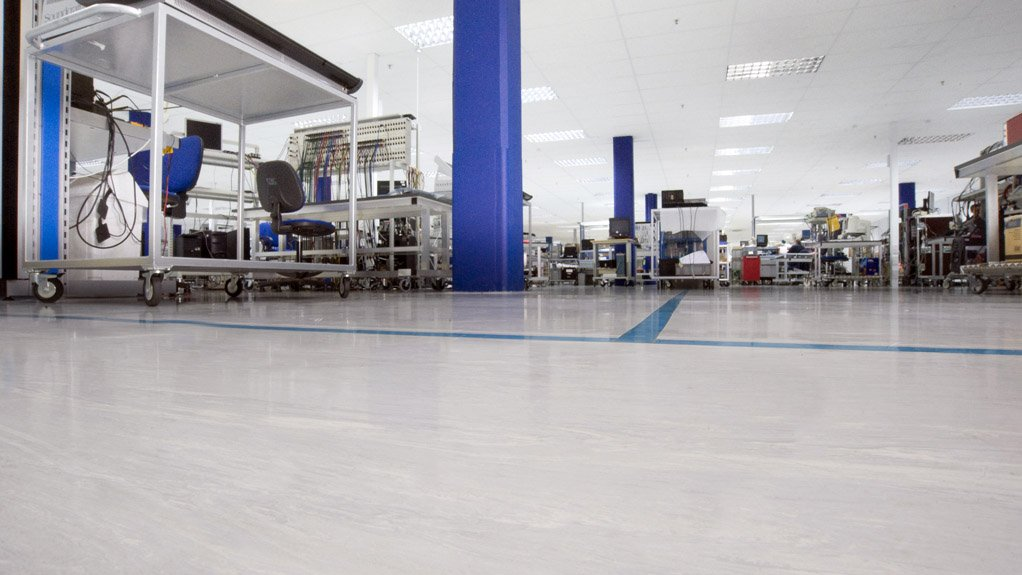 INDUSTRIAL APPLICATION  Static dissipative flooring eliminates electron imbalances and decreases faulting electronic equipment