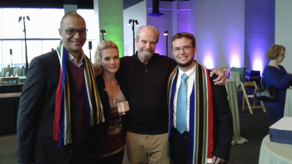GCIP-SA top performers for 2016, Yolandi Schoeman and Martin Ackermann, with Gerswynn McKuur (left) and Paul deGive at the Cleantech Open Global Forum in San Francisco