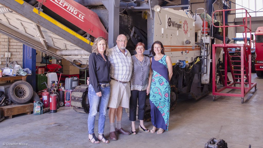 FAMILY AFFAIR Road Milling and Sweeping founder Cecil Aling, his wife and daughters Lesley Kafka and Leigh Cameron