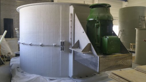 UPGRADED SCRUBBER Valued at about R10-million the overall project upgrades an existing 3.6-m-diameter scrubber