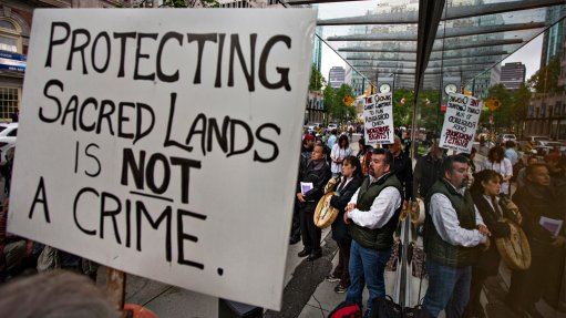 First Nations demonstrators protesting against the proposed New Prosperity copper/gold project by proponent Taseko Mines