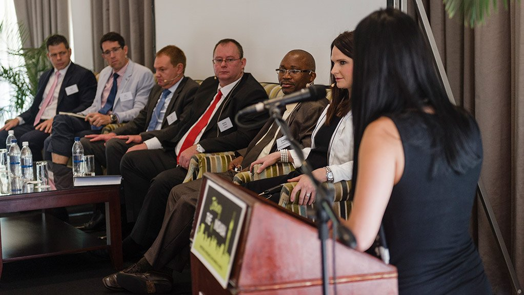 Panellists from left to right are Pan African CEO Cobus Loots, MSA MD Ben Burnand, PwC's Dr Ferdi Linde, ENSafrica's Andries Myburgh, DMR's director of mine closure Reuben Masenya and Cenviro Solutions MD Leentie Smit