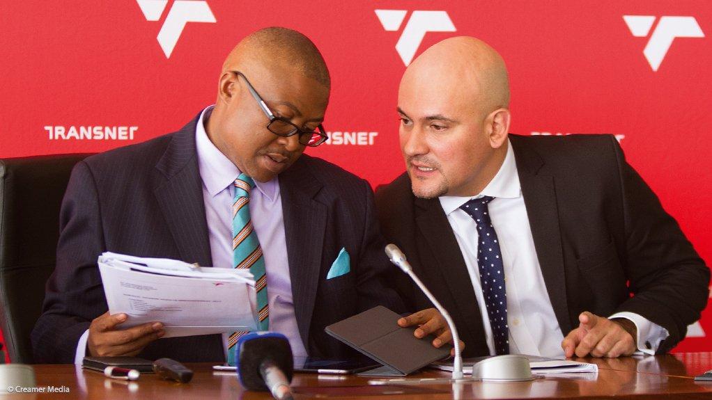 Transnet CEO Siyabonga Gama and CFO Garry Pita