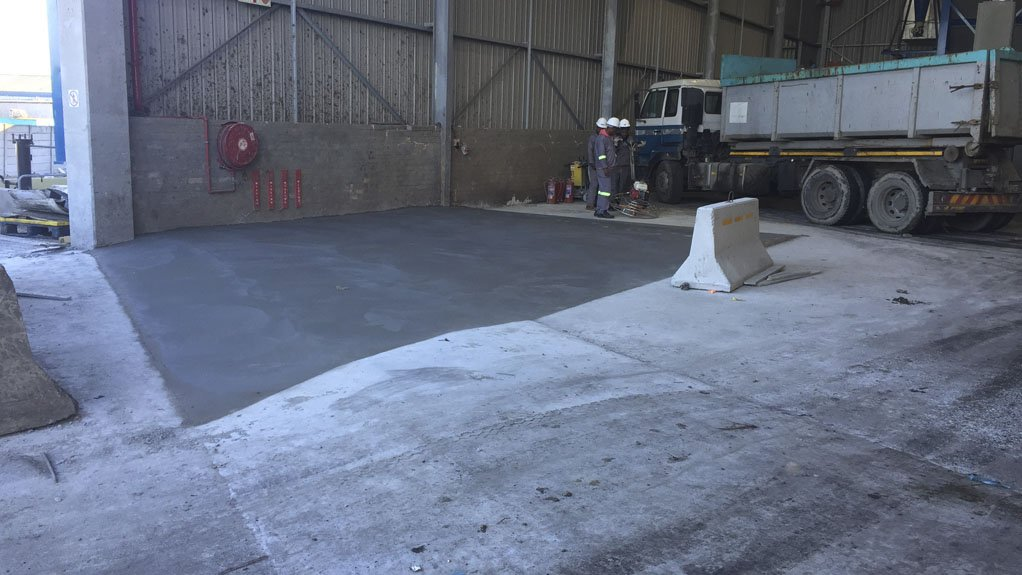 PROTECTIVE BARRIER CLF's ramp barrier will stop organic waste leachate from exiting the building at the New Horizon waste-to-energy facility in Cape Town