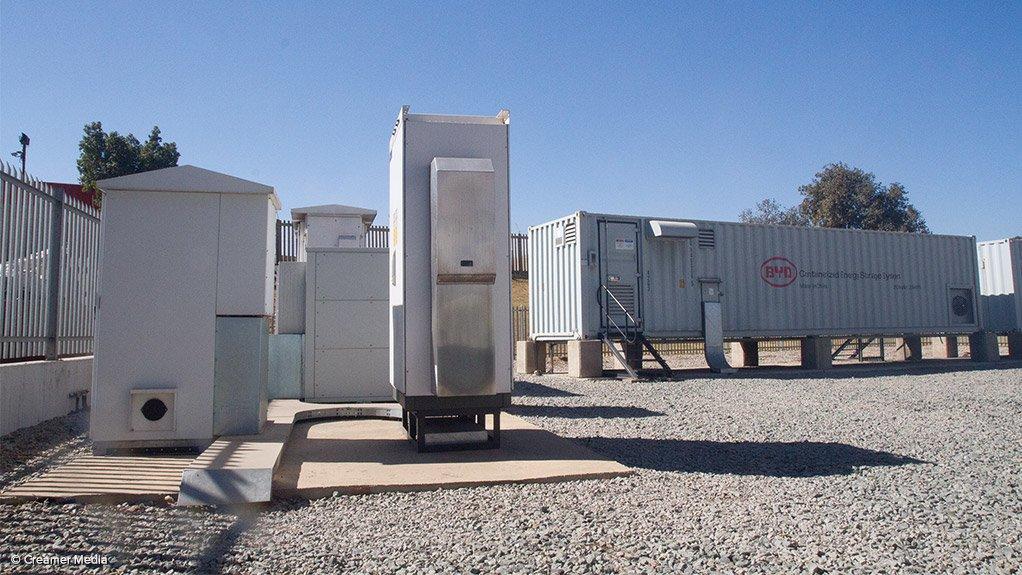 Eskom's battery energy storage test site at Rosherville, in Gauteng