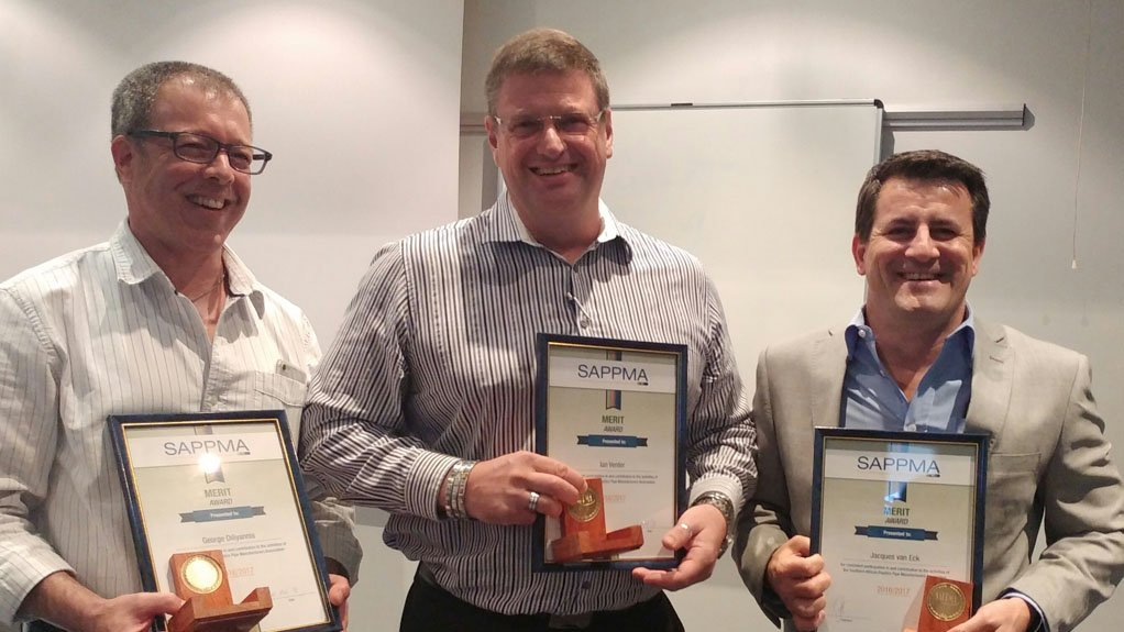 MERITORIOUS  Ian Venter, George Diliyannis and Jacques van Eck were recognised for their hard work and dedication on Sappma's Technical Committee by receiving this year's Merit Awards