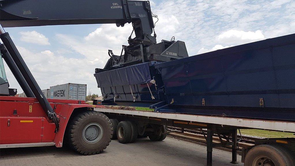 TRANSCENDING TRANSPORT Specialised Container Agencies' intermodal side tipper bins can be used across different modes of transport, including road and rail