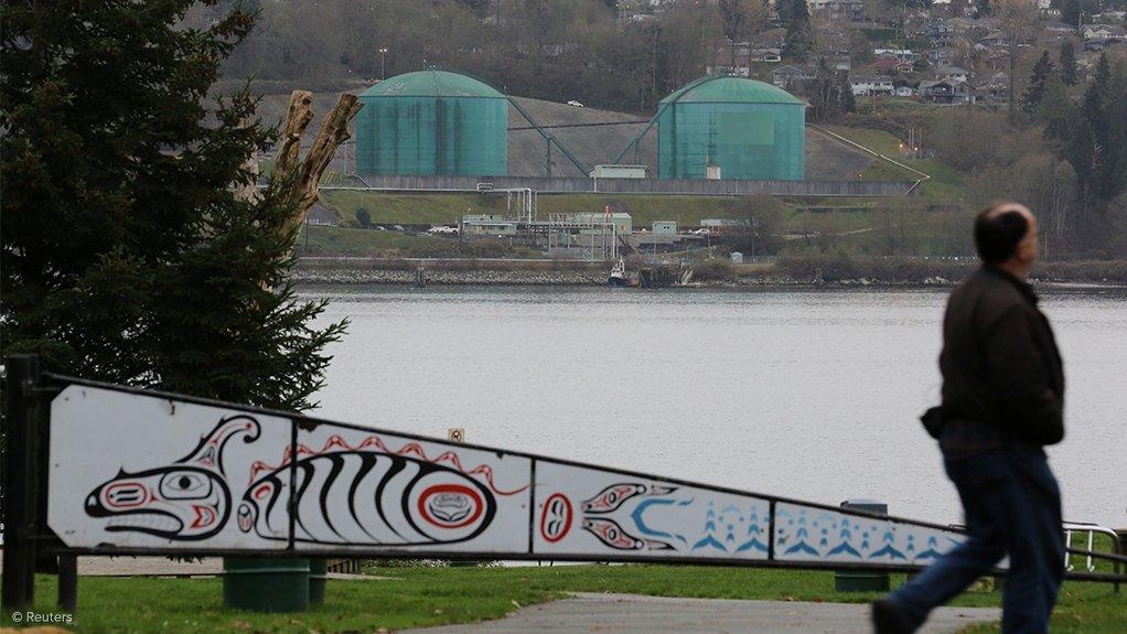 Kinder Morgan's Westridge Terminal, in North Vancouver, is seen accross the Burrard Inlet