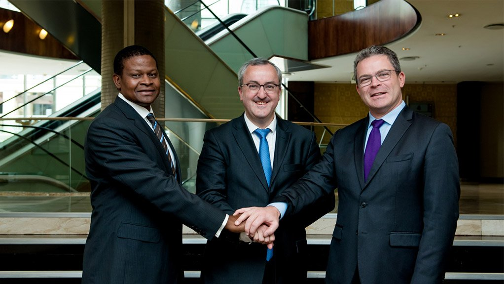 (Left to Right) Mjisa Investments Director Sam Bhembe, TMH International CEO Martin Vaujour and TMH Africa CEO Jerome Boyet