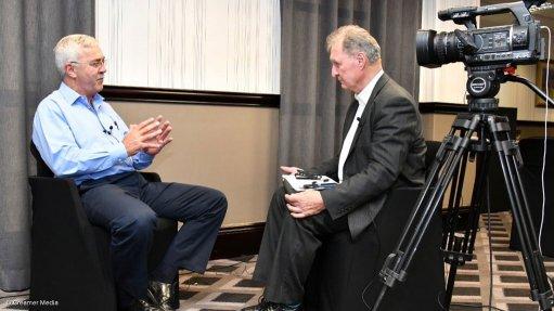 Master Drilling CEO Danie Pretorius (left) talking to Mining Weekly Online's Martin Creamer.
