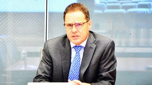 DRDGold CEO Niél Pretorius speaking in video conference call from New York.