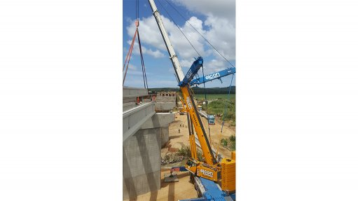 Cranes used for heavy  lifting on N2 upgrade