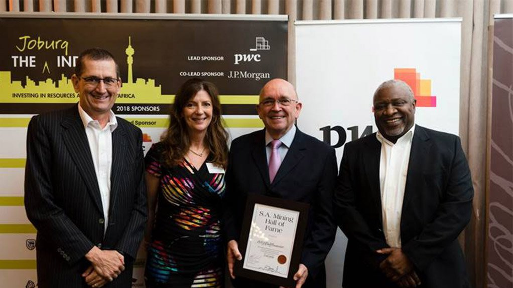 (Left to Right) Joburg Indaba chairperson Bernard Swanepoel, Resources4Africa CEO and Joburg Indaba founder and owner Paula Munsie, Dr Con Fauconnier and Sipho Nkosi