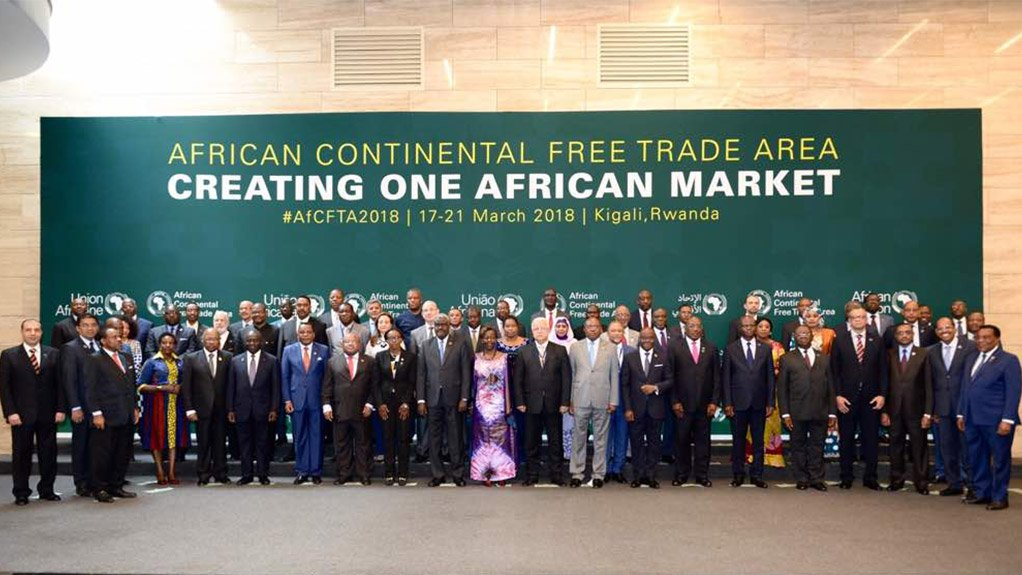 POLITICAL WILL: African leaders assembled before a banner proclaiming the aim of the Kigali Summit: the creation of the AfCFTA