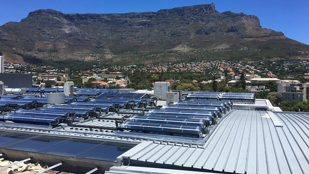 The newly installed Solarus energy system on the roof of the 15 on Orange Hotel, in Cape Town