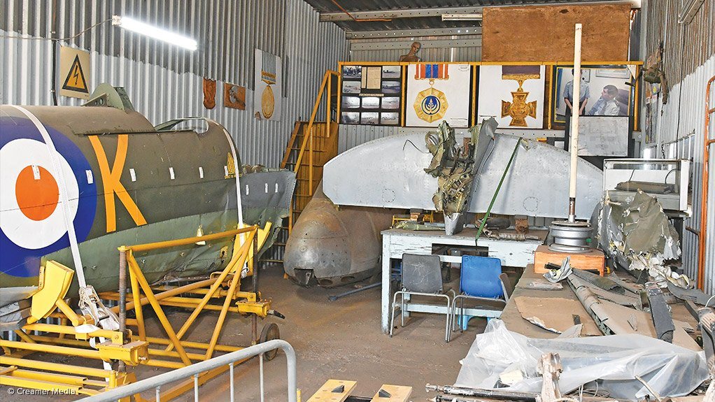 DISTORTED: A rear-side view of the Spitfire's fuselage
