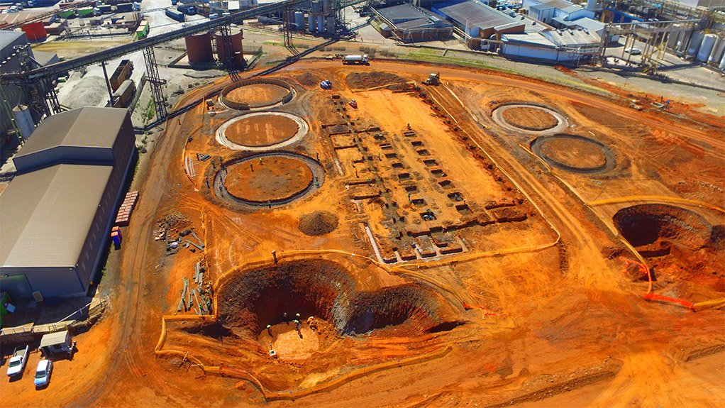 NO CROP CIRCLE The circular foundation where the storage silos will be placed can be seen from an aerial view of the plant