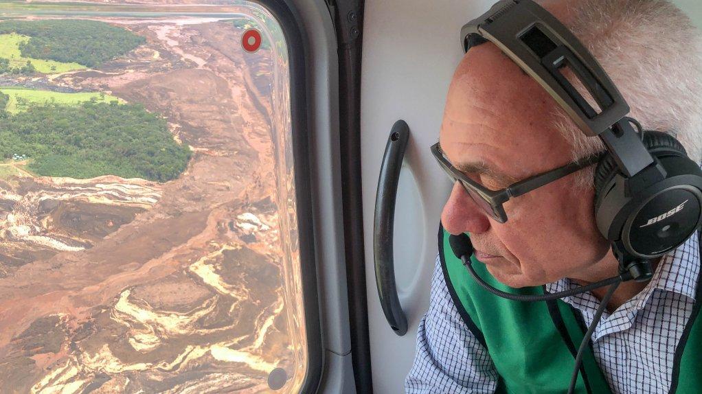 Vale CEO Fabio Schvartsman flies over the Brumadinho dam disaster area.