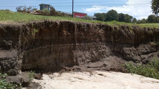 RIVERBANK EROSION Severe erosion is taking place in South African rivers, with sheer walls and embankments a sure sign of material being washed downstream