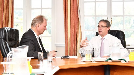 Anglo American Platinum CEO Chris Griffith (right) interviewed by Mining Weekly Online's Martin Creamer