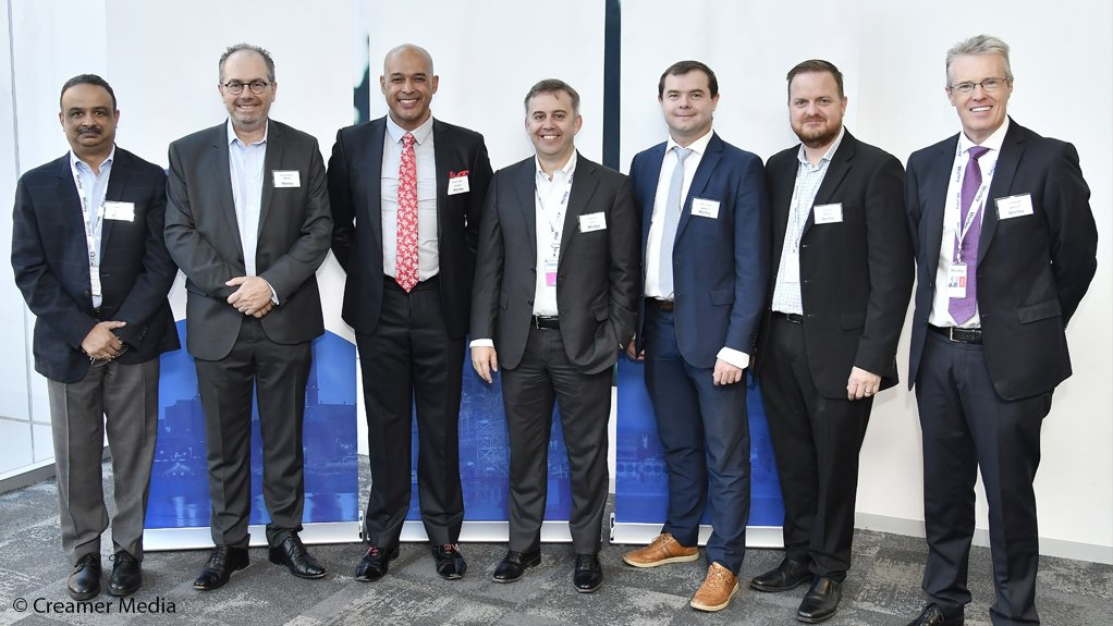 From left, Krish Iyer, president Middle East Africa, Francois Bosch, business development (BD) sales manager, East Africa, Denver Dreyer, senior vice president Mining Minerals and Metals (MM&M), Europe Middle East Africa, Ian Davies, senior vice president, BD & Growth MEA, Ryan Froude, operations manager, East Africa, Robert Hull, vice president, MM&M, Africa, and Ed Hanbidge, vice president, Energy Chemicals and Services, Southern and Eastern Africa.