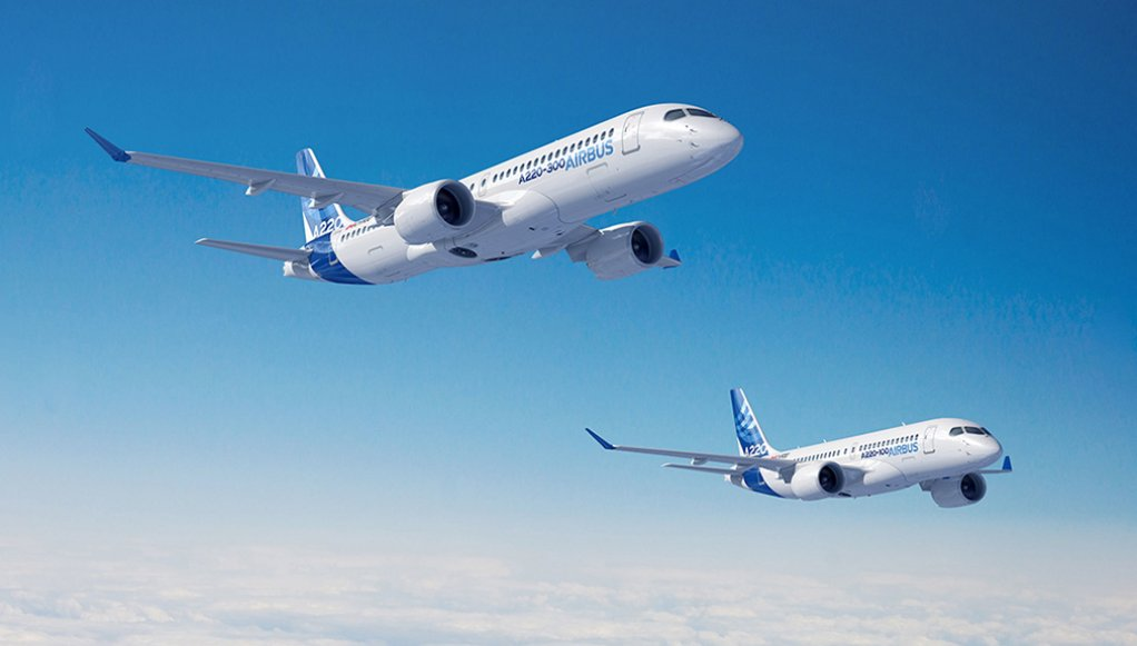 A computer-generated image of the two types of the A220 family