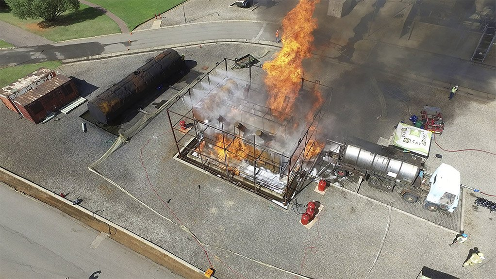 FLAME ON Varying degrees and configurations of fire were tested at the test site to complete the verification