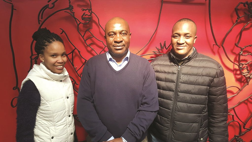 SIDE BY SIDE SAIW provides the required institutional training, while the partner company can either provide workplace training or assist in placing the apprentices with an employer organisation Seen here is:Landi Xaba, SAIW lecturer David Makoge and Mmaphete Boipeto Robin Phete