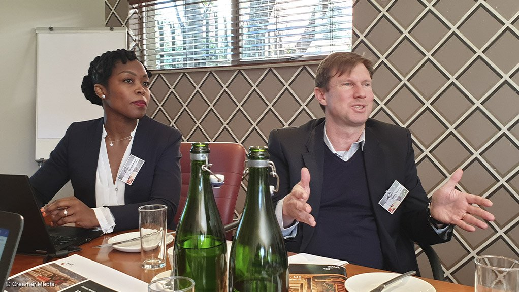 PwC partner and the report's project leader Luyanda Mngadi (left) and PwC Africa energy utilities and resources leader Andries Rossouw (right) at the launch of the report