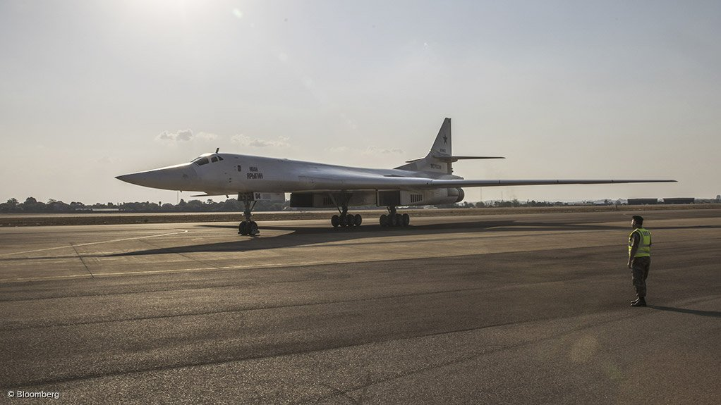 One of two Tupolev Tu-160 aircraft that landed at the Waterkloof Air Force Base on Wednesday.