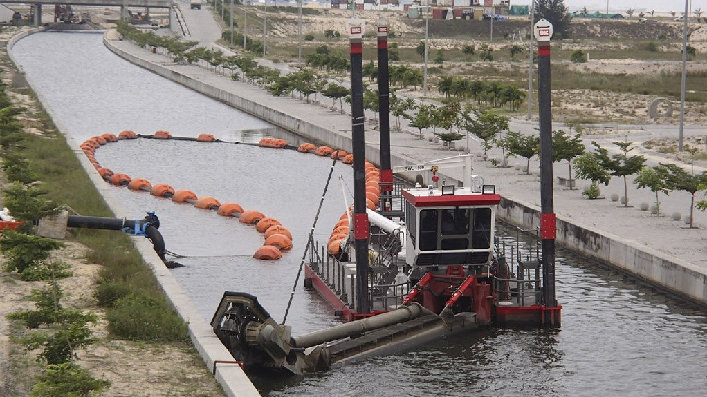 A customized IHC Beaver CSD in maintenance dredging operation, currently clearing a canal at a reclaimed marina in Lagos, Nigeria.