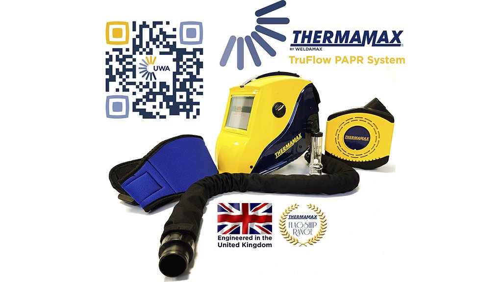 BREATHING EASY The powered, air-purifying respirator system not only eliminates welding fumes, but also petrochemical fumes